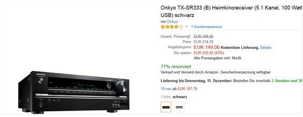 Onkyo TX-SR 333 in Schwarz als Amazon Blitzangebot 149 €