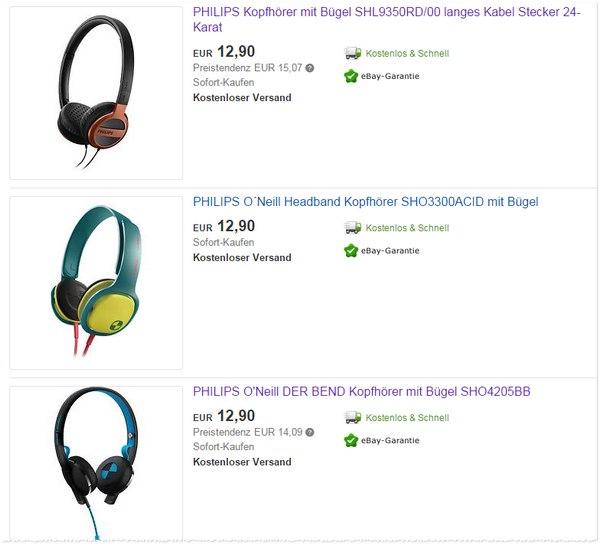 Philips Kopfhörer wie im Outlet bei Hatraco