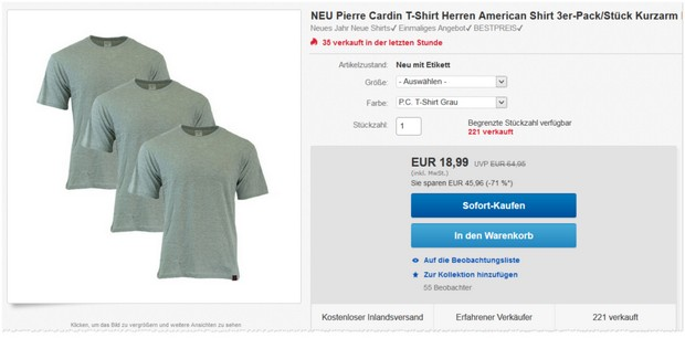 Pierre Cardin T-Shirts als eBay Angebot