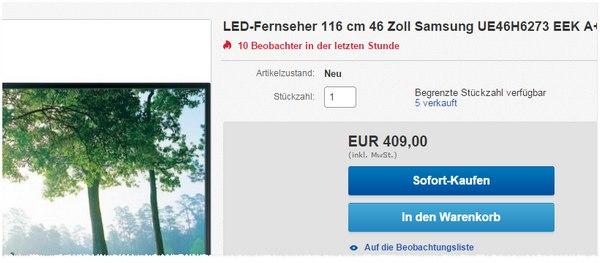Samsung UE46H6273 für 409 Euro