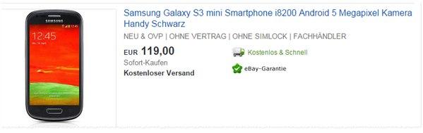 Samsung Galaxy S3 mini in Schwarz, Weiß oder Blau für 119 €