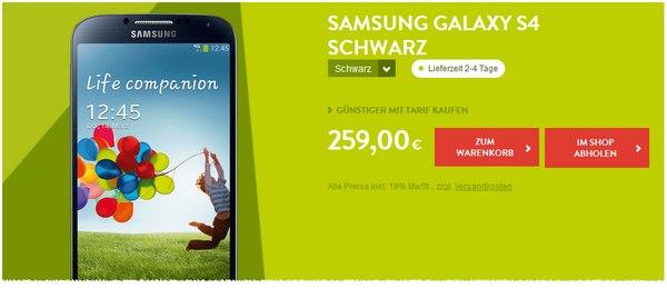 Samsung Galaxy S4 bei BASE für 259 €