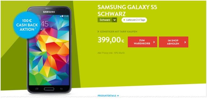 Samsung Galaxy S5 100 Euro Cashback