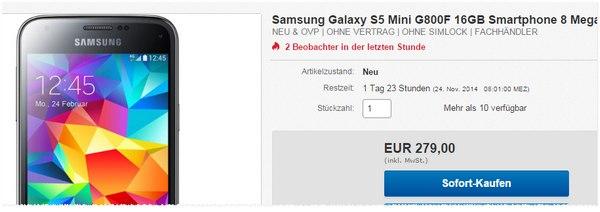 Samsung Galaxy S5 mini für 279 €
