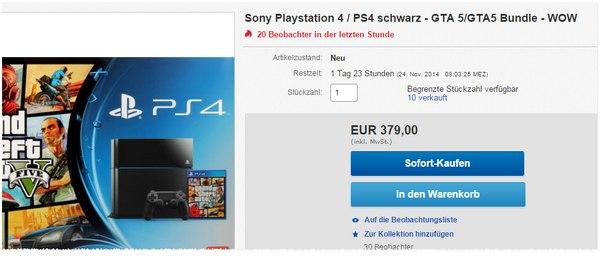 Sony PS4 + GTA 5 als eBay-Angebot für 379 €