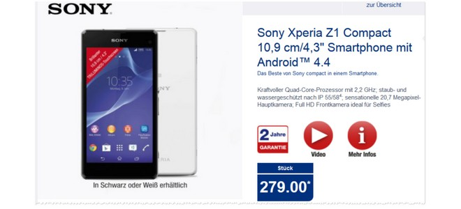 Sony Xperia Z1 Compact billiger