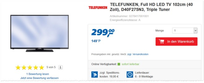 Telefunken D40F275N3 Kunden-Test