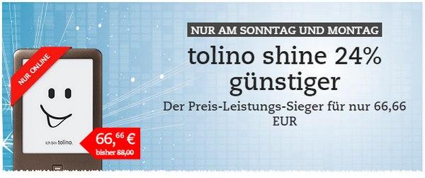Tolino Shine zum Cyber Monday Preis von 66,66 Euro bei Thalia