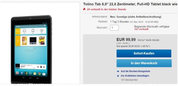 Tolino Tab 8.9 als B-Ware reduziert