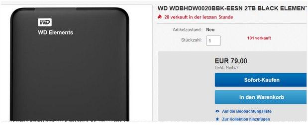 Western Digital Festplatte (2 TB) für 79 €