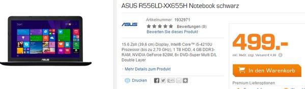 Asus R556LD XX655H als Saturn Montagsangebot für 499 €