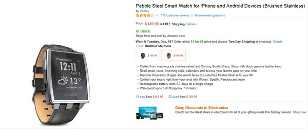Pebble Steel Smart Watch Preis auf 149,99 $ reduziert