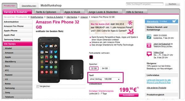 Amazon Fire Phone ohne Vertrag mit 32 GB bei der Telekom