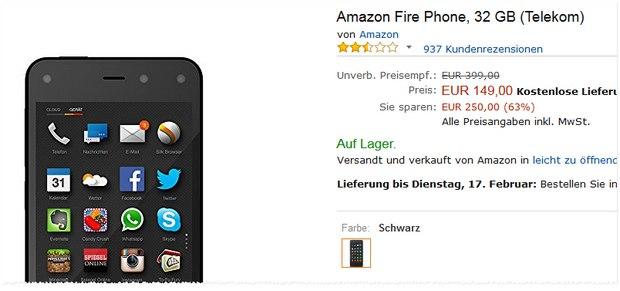 Amazon Fire Phone Preis sinkt auf 149 €