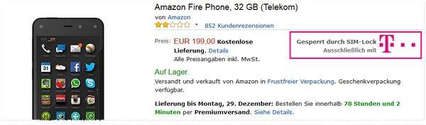 Amazon Fire Phone mit SIM-lock zum Preis von 199 €