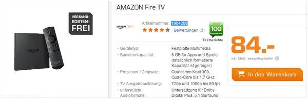 Amazon Fire-TV als Saturn-Angebot für 84 €