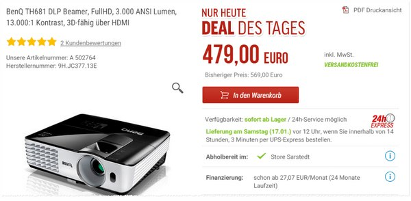 BenQ TH681 bei Notebooksbilliger als Deal des Tages