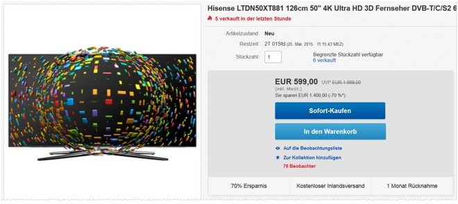 Ultra-HD Hisense LTDN50XT881 Fernseher