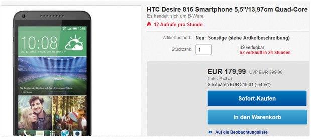 HTC Desire 816 als B-Ware für 179,99 €