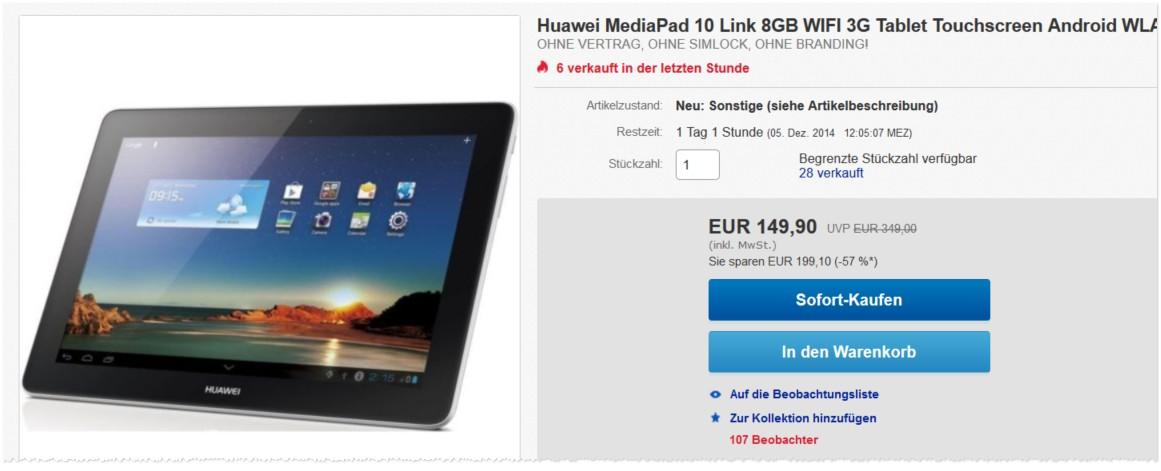 Huawei MediaPad 10 Link als B-Ware