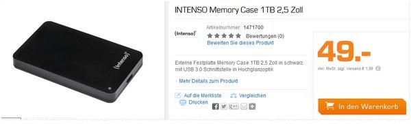 Intenso Memory Case für 49 € bei Saturn
