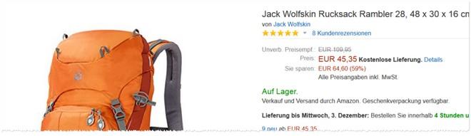Jack Wolfskin Rucksack Sonderangebot