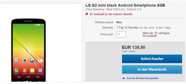 LG G2 mini ohne Vertrag bei Cyberport nur 139,90 €