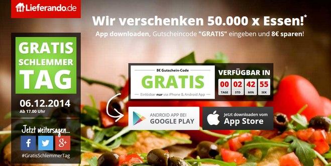 Lieferando Gratis-Schlemmer-Tag mit Lieferando-Gutschein