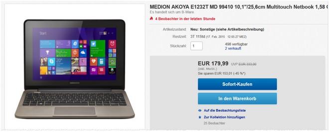 Medion Akoya E1232T Netbook