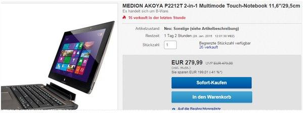 Medion Akoya P2212T Angebot