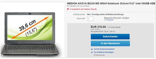 Medion Akoya E6239 MD 98844 als B-Ware für 219,99 €