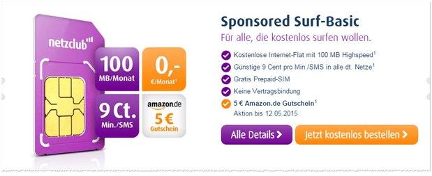 netzclub Prepaid-Karte gratis mit 5 € Amazon-Gutschein