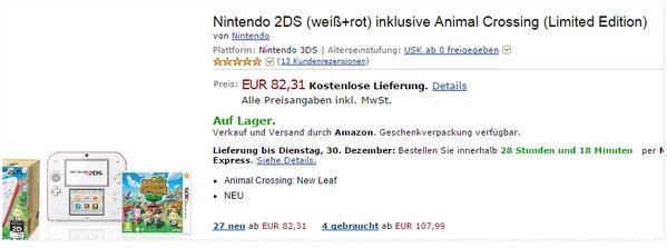 Nintendo 2DS Schnäppchen für 82,31 €