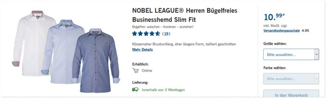 Nobel league hemden online bei lidl f r 10 99 for Lidl herrenhemden