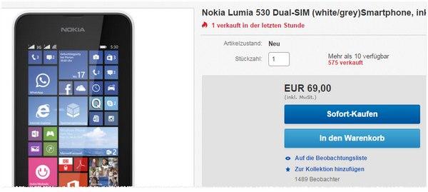 Nokia Lumia 530 ohne Vertrag für 69 €