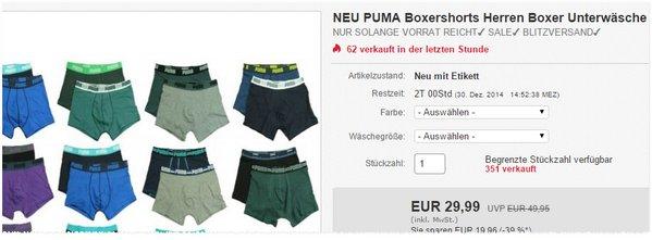 Puma Unterwäsche: 6 Shorts unter 30 €