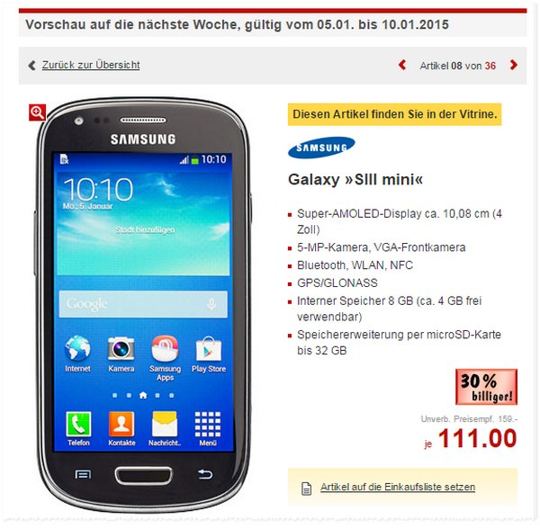 Samsung Galaxy S3 mini als Kaufland-Angebot vom 5.1. bis 10.1.2015