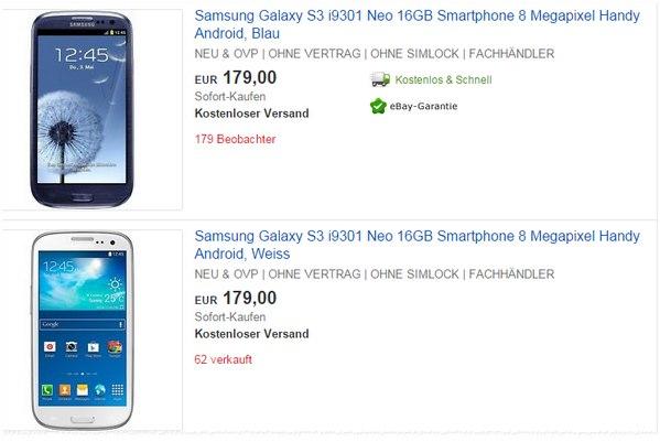 Samsung Galaxy S3 Neo ohne Vertrag für 179 €