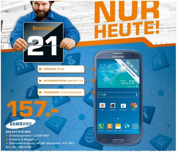 Samsung Galaxy S3 am verkaufsoffenen Sonntag in Berlin am 21.12.2014 für 157 €