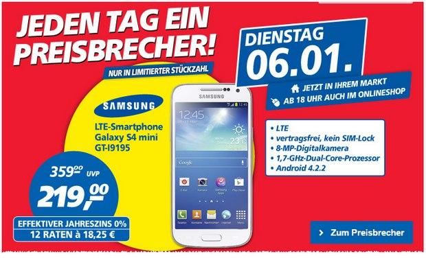 Samsung Galaxy S4 mini als Real Preisbrecher für 219 €