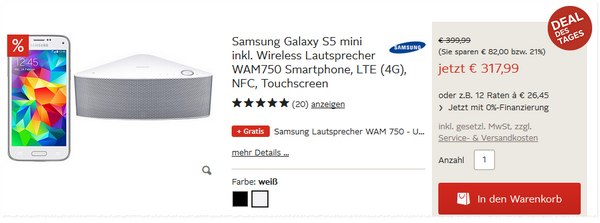 Samsung Galaxy S5 mini + Samsung WAM750 als OTTO Deal des Tages am 17.1.2015