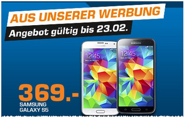 Samsung Galaxy S5 als Saturn-Montagsangebot am 23.2.2015