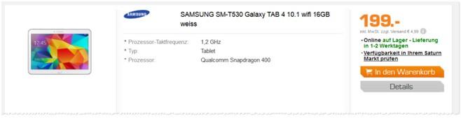 Samsung Galaxy Tab 4 für 199 €