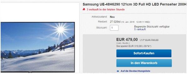 Auch 2015 könnt ihr den Samsung UE48H6290 günstig kaufen