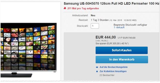 Samsung UE50H5070 für 444 €
