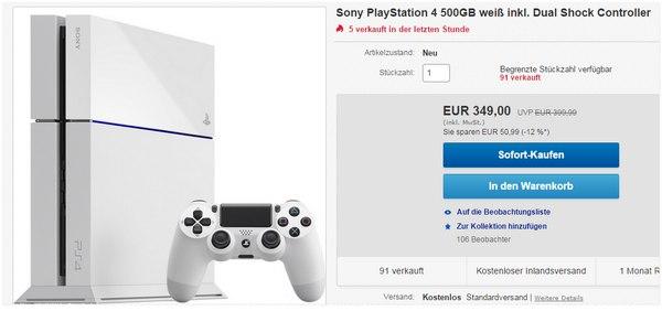 Sony PS 4 in Weiß für 349 €