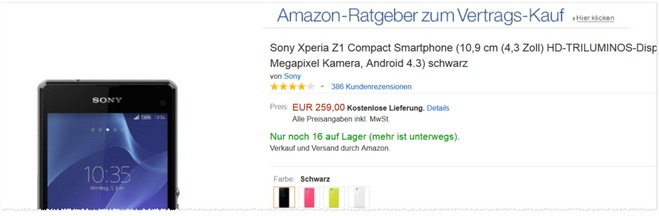 Sony Xperia Z1 Compact Angebot Amazon
