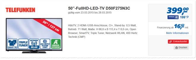 Telefunken D50F275N3C als Real Angebot ab 23.3.2015