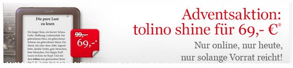 Tolino Shine für 69 Euro bei Hugendubel