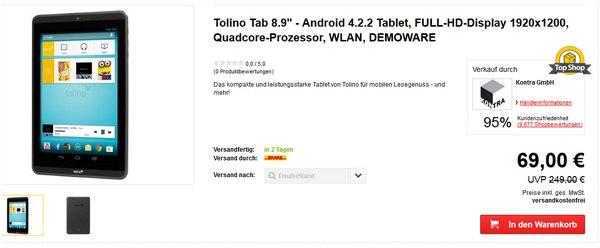 TolinoTab 8.9. günstig als B-Ware für 69 €